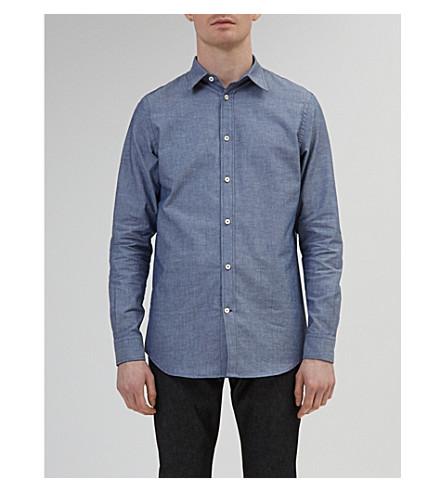 72912b7e8e ... COMMUNITY CLOTHING Tailored-fit cotton-chambray shirt (Blue+chambray.  PreviousNext