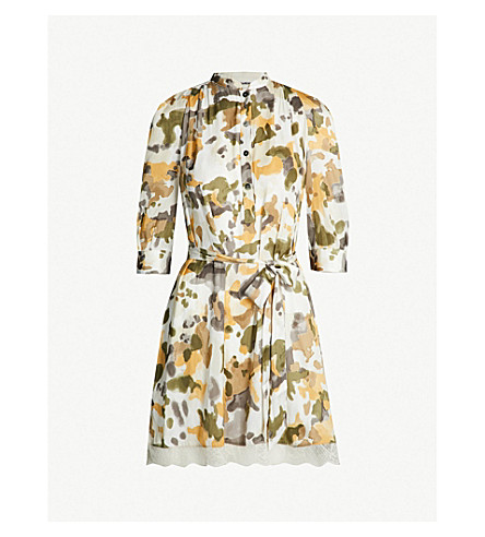 Retouch Camou Lace Trimmed Camo Print Satin Dress by Zadig & Voltaire