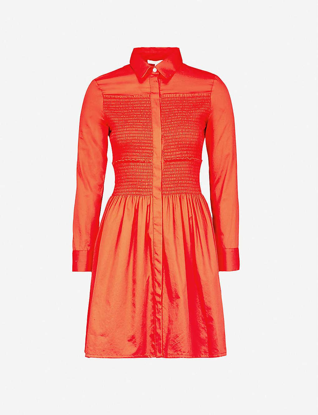 8b3ed64882 MAJE - Roumpa smocked cotton mini shirt dress