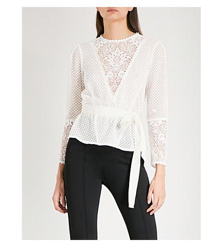 lareine-floral-lace-and-chiffon-blouse by maje