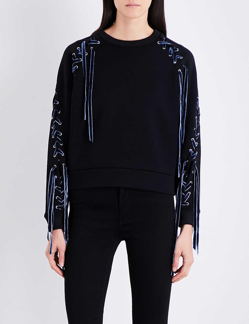 4f6fe80964 MAJE - Triangle lace-up neoprene sweatshirt