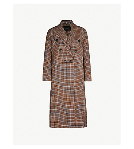 Guindy Double Breasted Checked Wool Coat by Maje