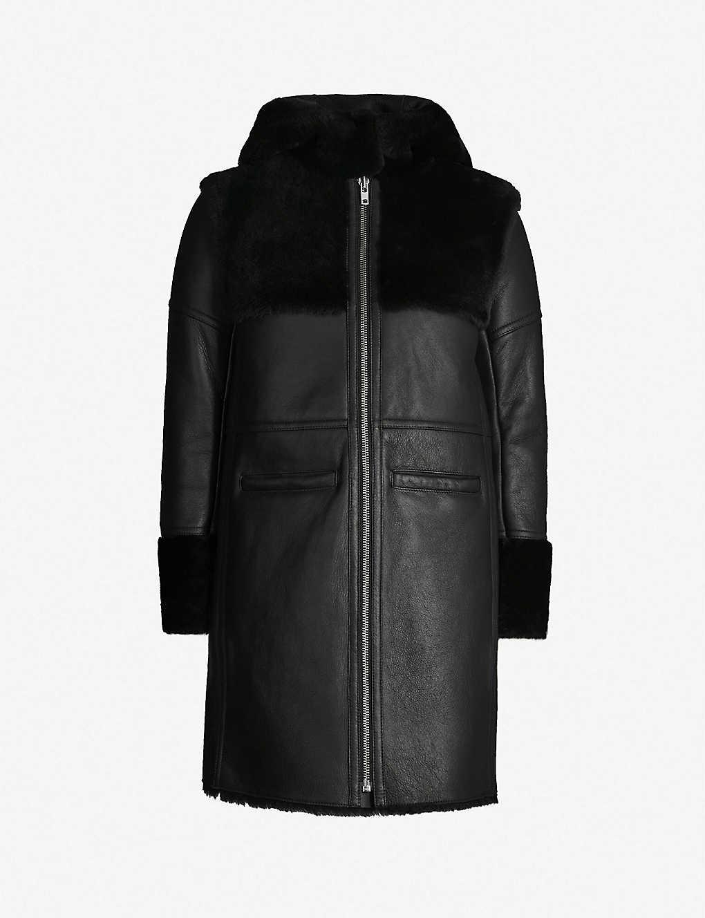 MAJE - Hooded shearling coat  d7ceec5ce