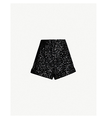 High Rise Sequin Embellished Velvet Shorts by Maje