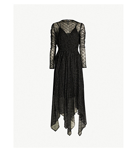 Glitter Embroidered Floral Lace Dress by Maje