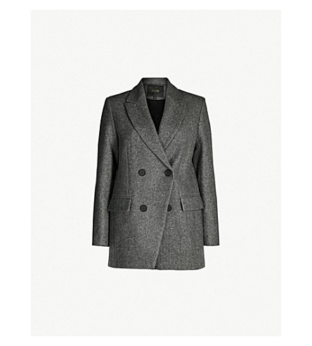 Vogo Double Breasted Wool Blend Blazer by Maje