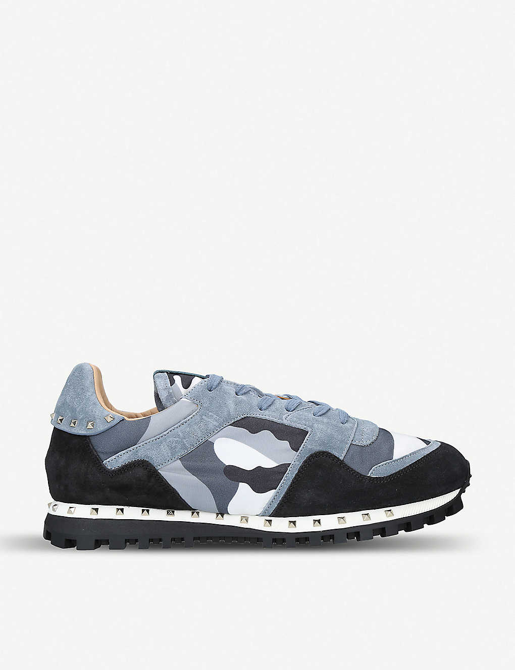 62bf9d79add3 VALENTINO - Rockstud embellished camouflage-print shell and suede ...