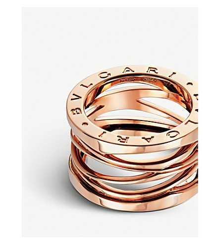 Bvlgari Four Band Pink Gold Ring