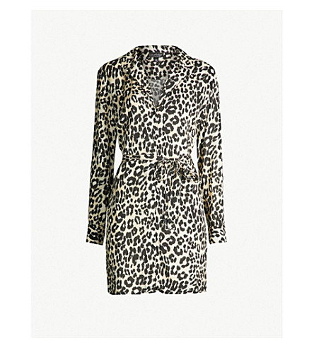 TOPSHOP - Leopard-print woven shirt dress  5cb8b1521