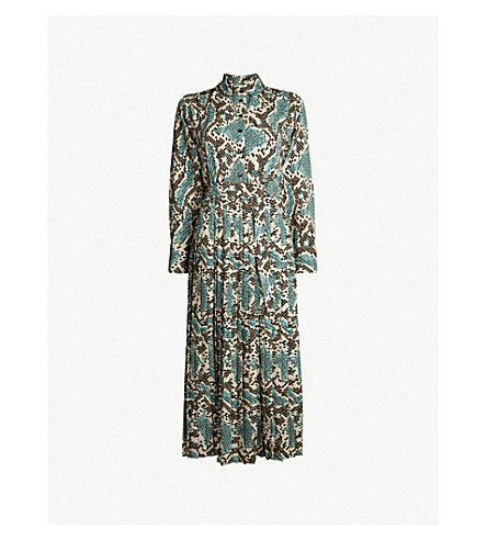bcc4996f89 ... TOPSHOP Python-print pleated dress (Blue. PreviousNext