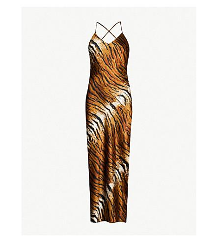 d9b85ed699 TOPSHOP - Tiger-print midi satin slip dress