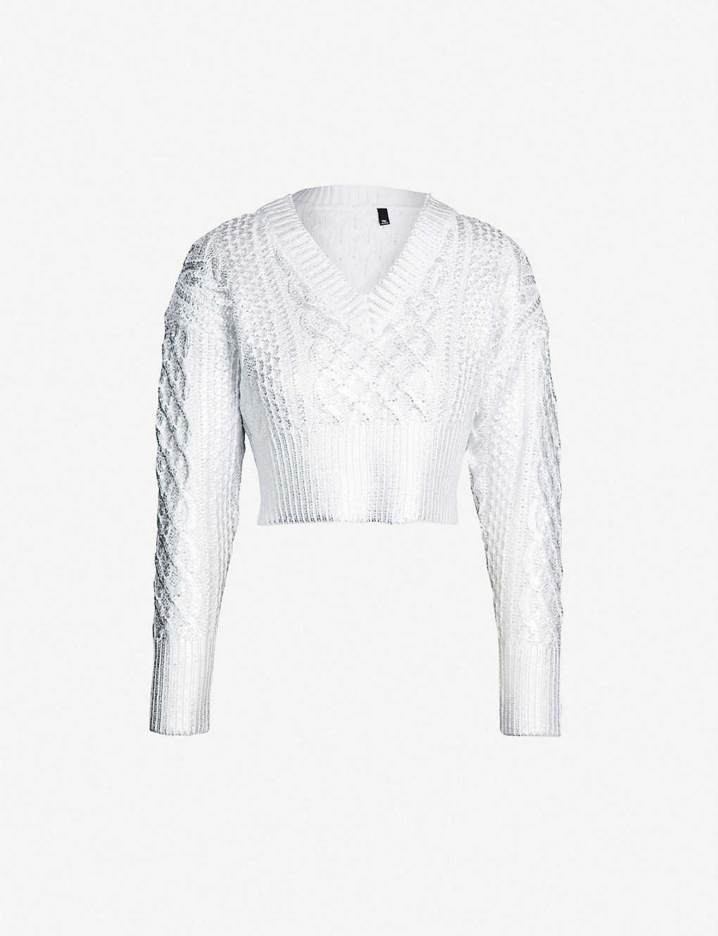 TOPSHOP - Cable-knit metallic sweater  60d976653