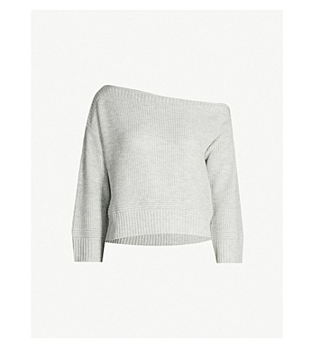 85be9cd1924cd ... TOPSHOP Off-the-shoulder cropped knitted jumper (Grey+marl. PreviousNext