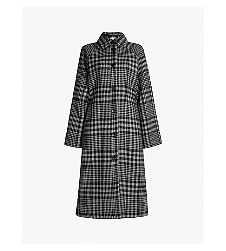 Checked Cotton Blend Duster Coat by Topshop