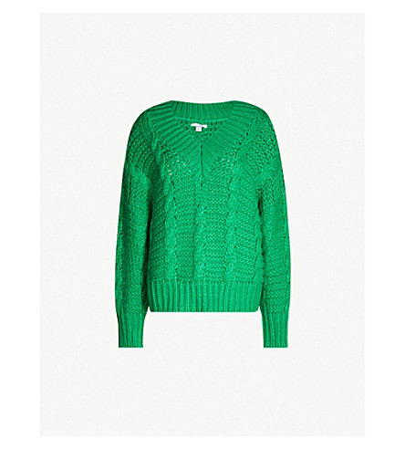 2b8544df1 ... TOPSHOP Oversized cable-knit jumper (Green. PreviousNext