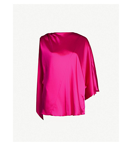01b90df65bf1f4 TOPSHOP - Boutique one-sleeved silk-satin top