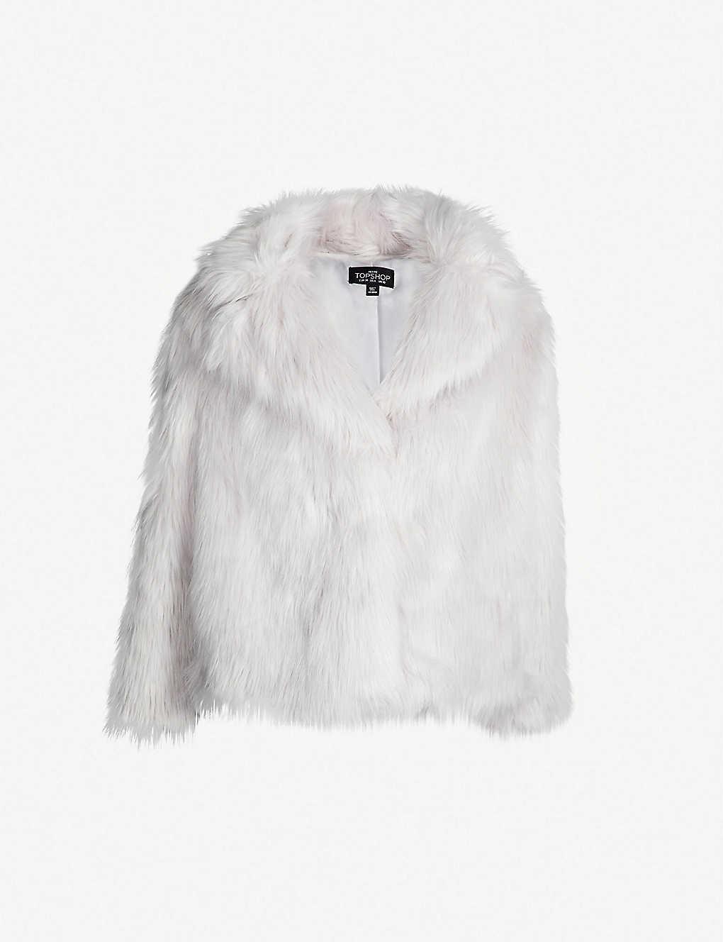 2a7848035fe34 TOPSHOP - Petite notch-lapel faux-fur jacket