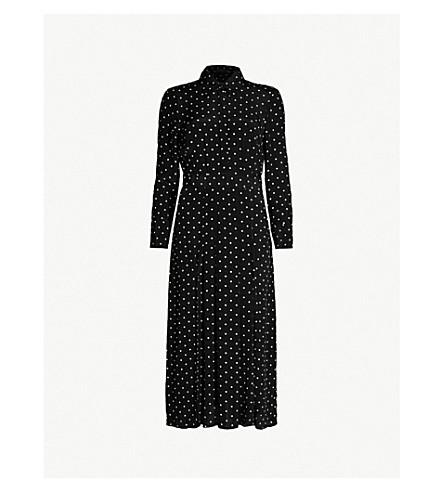 Petite Split Hem Polka Dot Chiffon Midi Dress by Topshop
