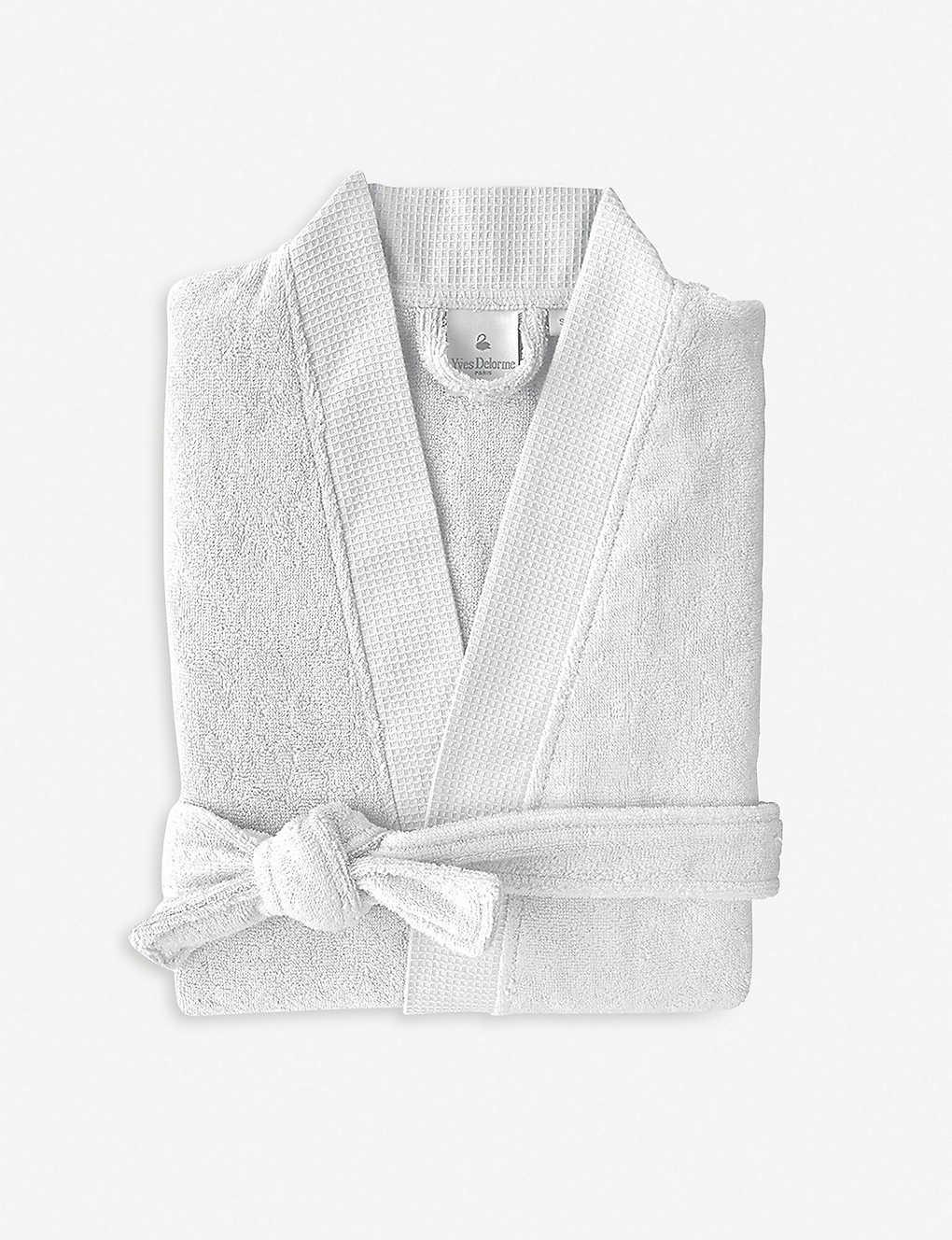 YVES DELORME - Silver cotton-blend bathrobe  bbf630d89