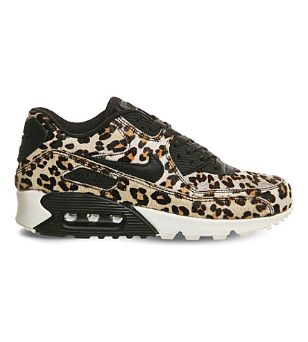 NIKE - Air Max 90 leopard print pony-hair leather trainers ... 4972008925df