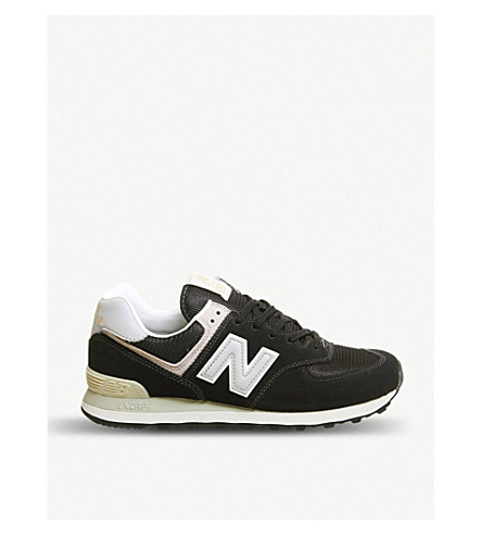 promo code a604f 014e1 ... NEW BALANCE 574 suede and mesh trainers (Black+grey+white. PreviousNext