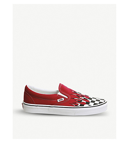 c8d676b26338 ... VANS Flame checkerboard-print canvas slip-on trainers  (Racing+red+flame. PreviousNext