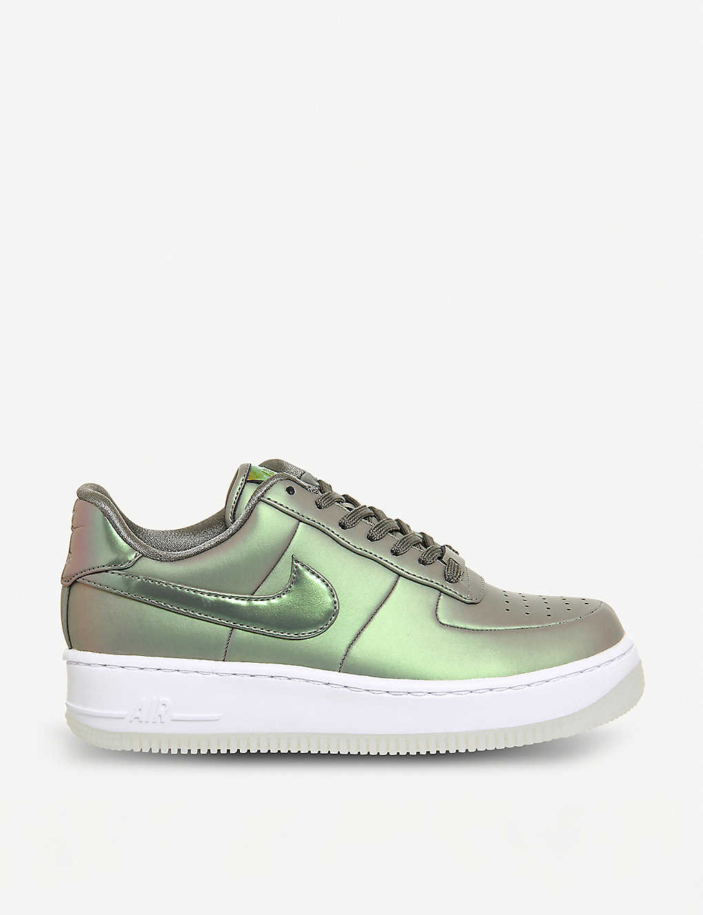 5e89d89c87b NIKE - Air Force 1 Upstep iridescent metallic leather trainers ...