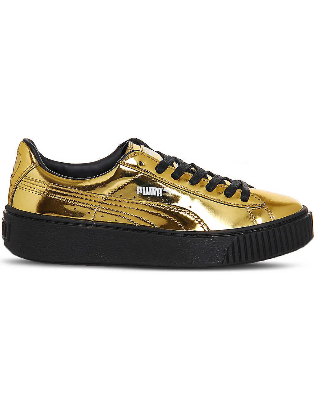 competitive price 11554 8864a PUMA - Basket platform metallic-leather trainers ...