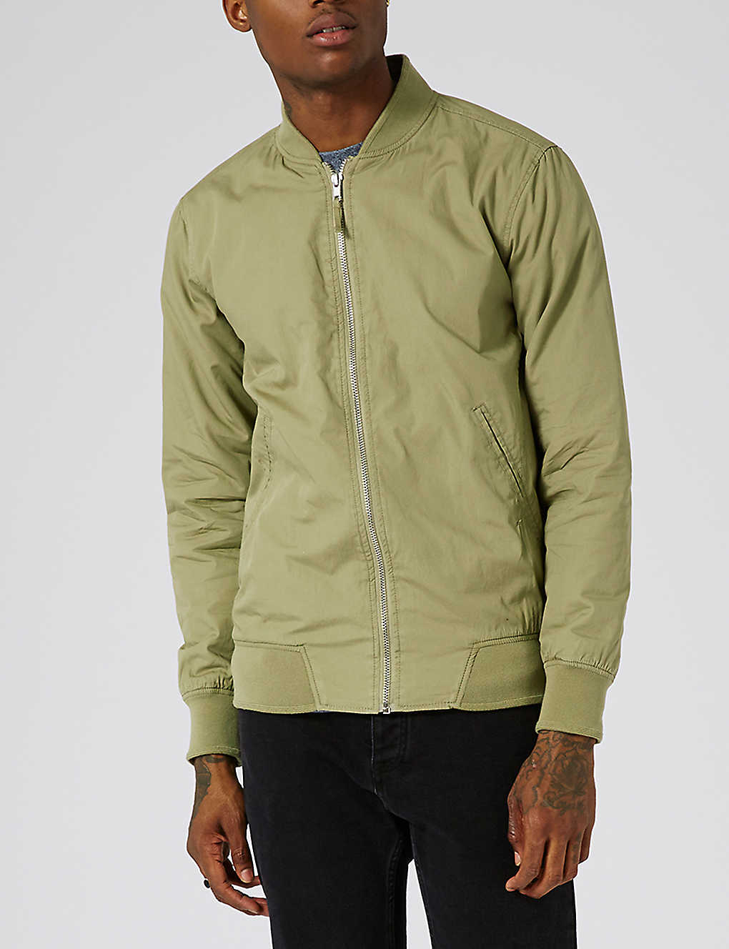 ccebd8684cb0 TOPMAN - Washed cotton bomber jacket