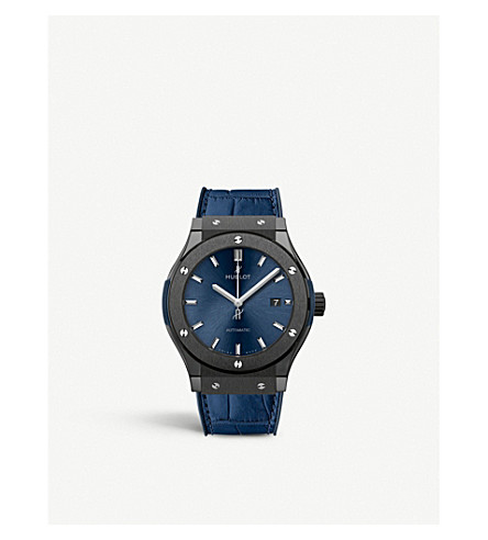HUBLOT - 542.CM.7170.LR Classic Fusion Blue titanium and leather ... 3716b3d508