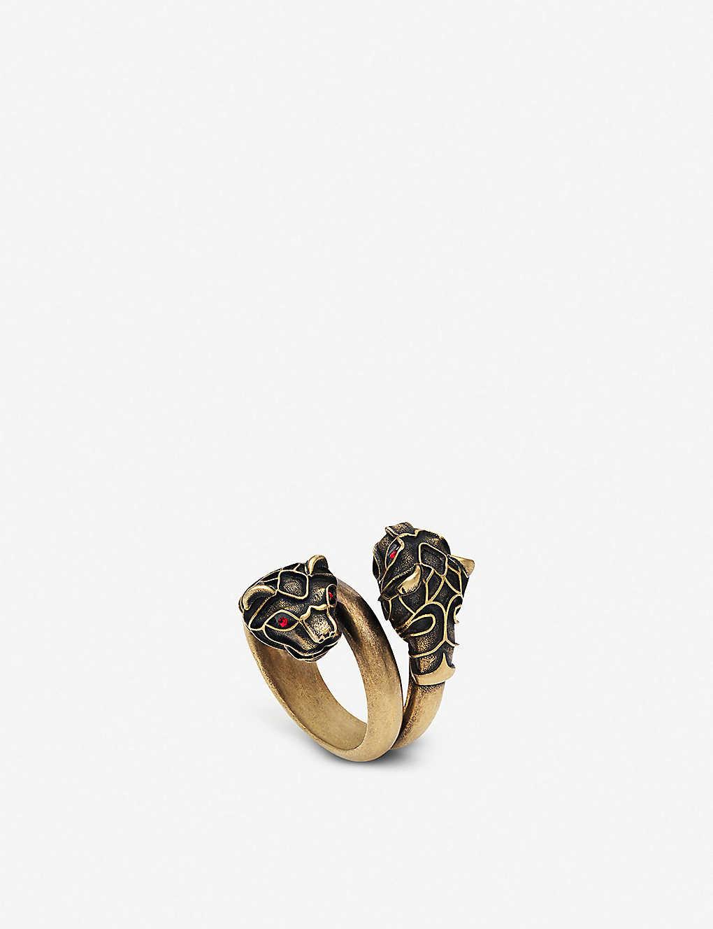 7b0adc38de3 GUCCI - Tiger head Swarovski crystal metal wrap ring