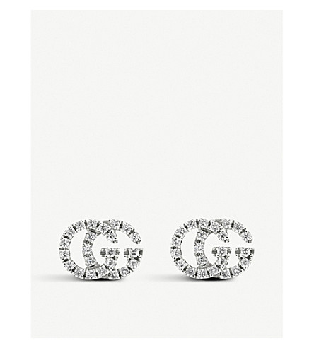 9a2f91878ca ... GUCCI GG Running 18ct white-gold and diamond stud earrings. PreviousNext