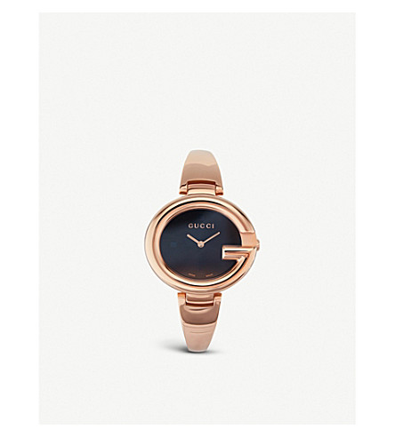1d186123c0f ... GUCCI YA134305 Guccissima pink gold-plated stainless steel watch.  PreviousNext