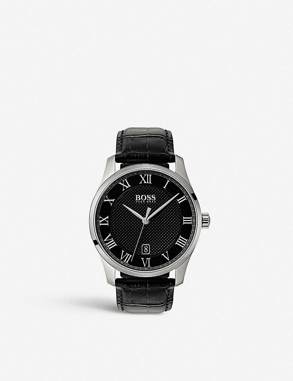 078385d87eadd BOSS - 1513585 Master stainless steel and leather watch
