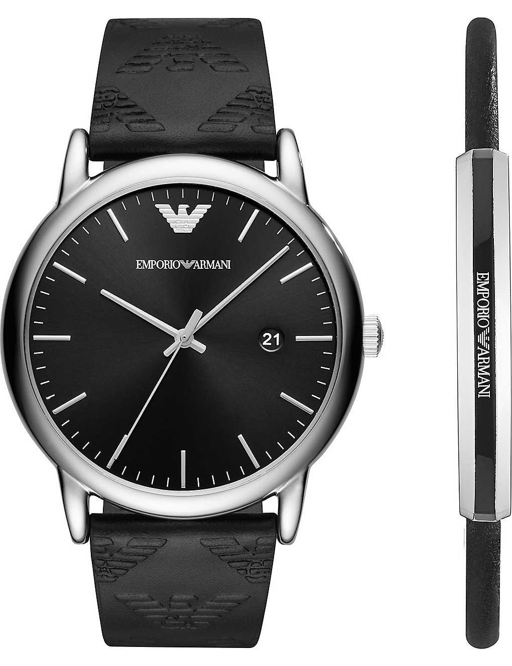 EMPORIO ARMANI - AR80012 Luigi stainless steel quartz watch gift set ... a363cdfb73cb8