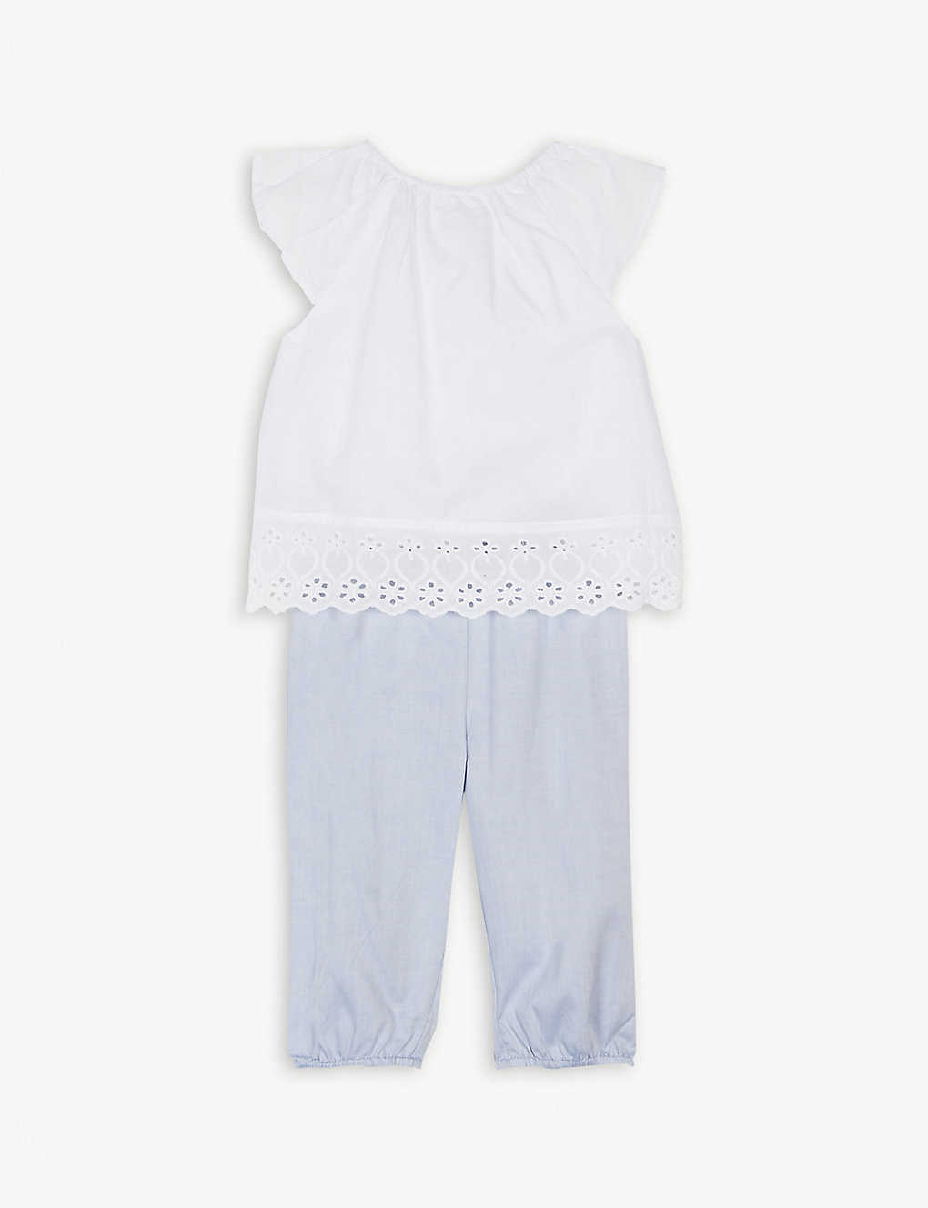d0195741ce58b THE LITTLE WHITE COMPANY - Embroidered blouse and trousers cotton ...