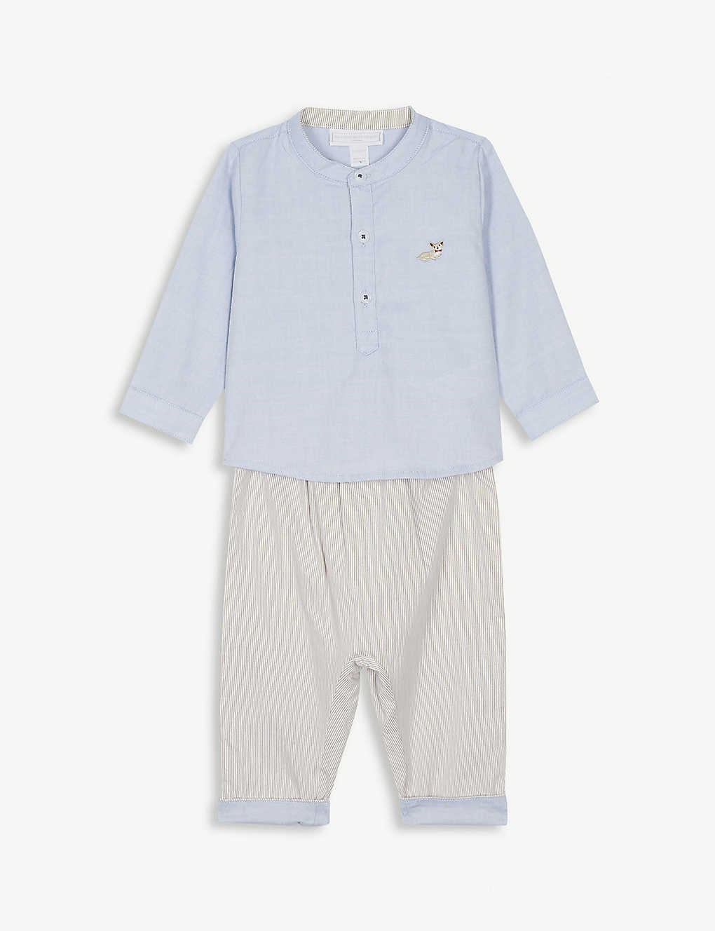 bb86832f41ebd THE LITTLE WHITE COMPANY Corgi shirt and trouser set 0-24 months