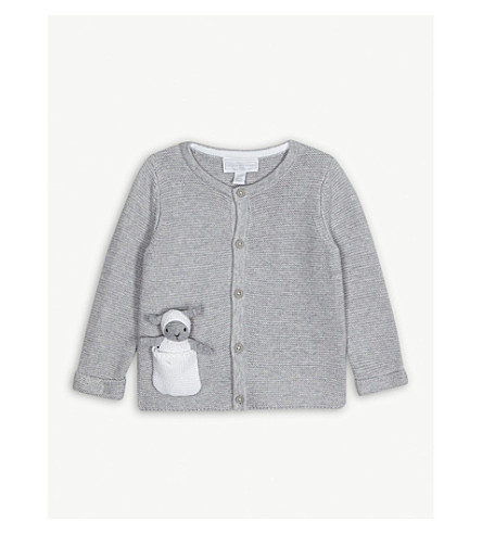ef95fccbb96ab THE LITTLE WHITE COMPANY - Lamb toy cotton cardigan 0-24 months ...