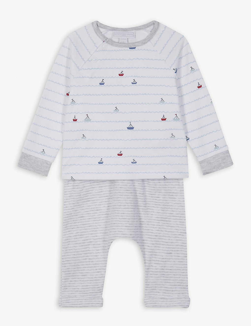 c76cd03cd49f THE LITTLE WHITE COMPANY - Striped sailboat cotton pyjamas newborn ...