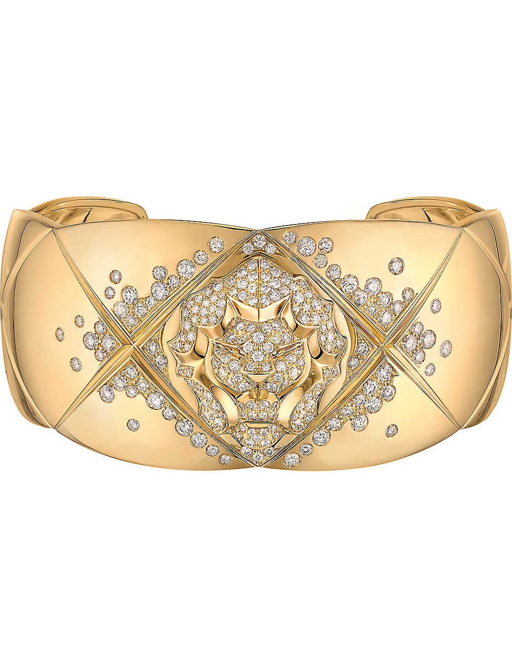 CHANEL - Coco Crush 18k yellow gold and diamond quilted lion cuff ... b94120220adff
