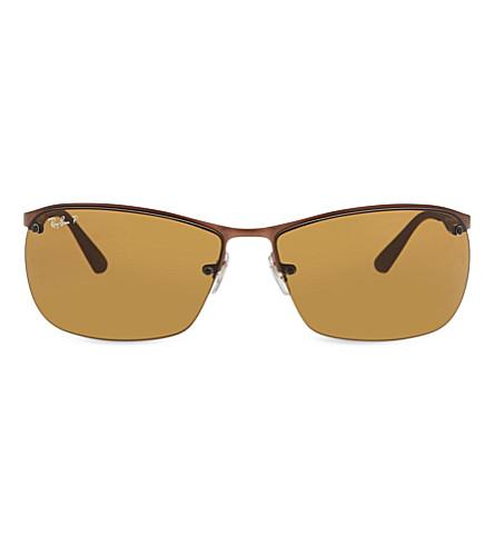 b6c24707bbb ... RAY-BAN RB3550 rectangle polarized sunglasses (Matte dark brown.  PreviousNext