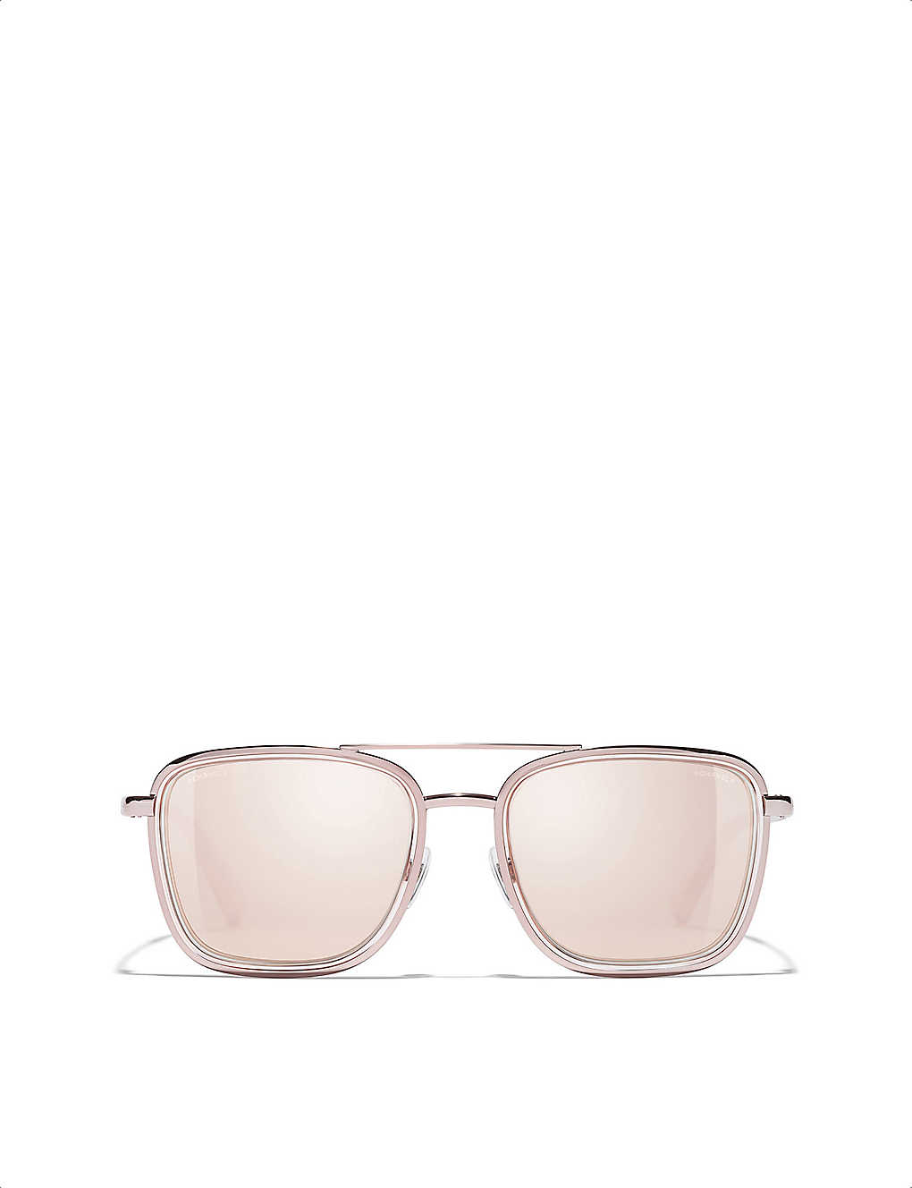 afcdb7b10cb CHANEL - 18-carat pink-gold plated metal sunglasses