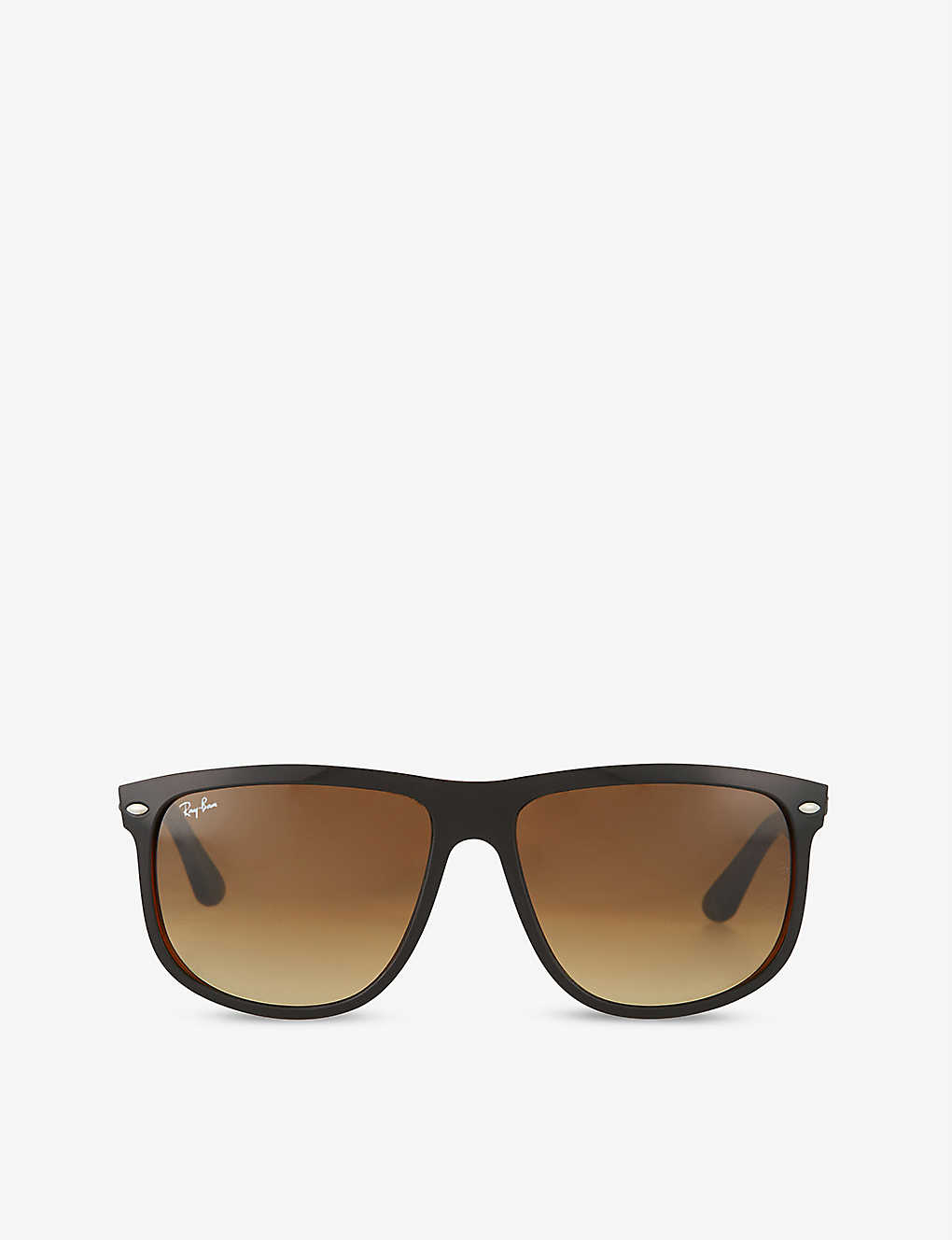 44eedd1c4c3 RAY-BAN - Black on brown square sunglasses with brown tinted lenses ...