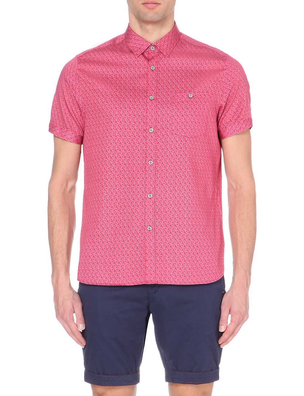 21ba4d50d TED BAKER - Geometric print cotton short-sleeved shirt