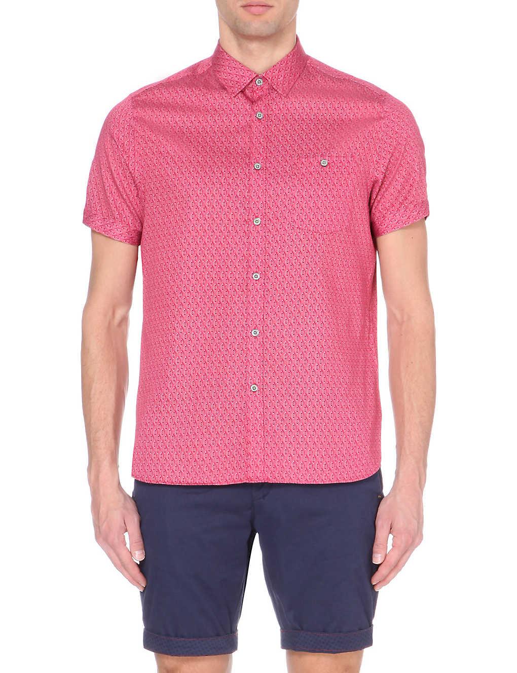 6db89ff32ba8a TED BAKER - Geometric print cotton short-sleeved shirt