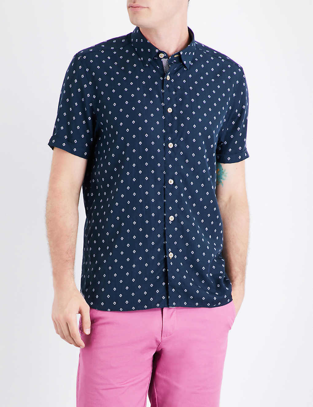 506f8e6da2d56 TED BAKER - Drakey diamond-print woven shirt