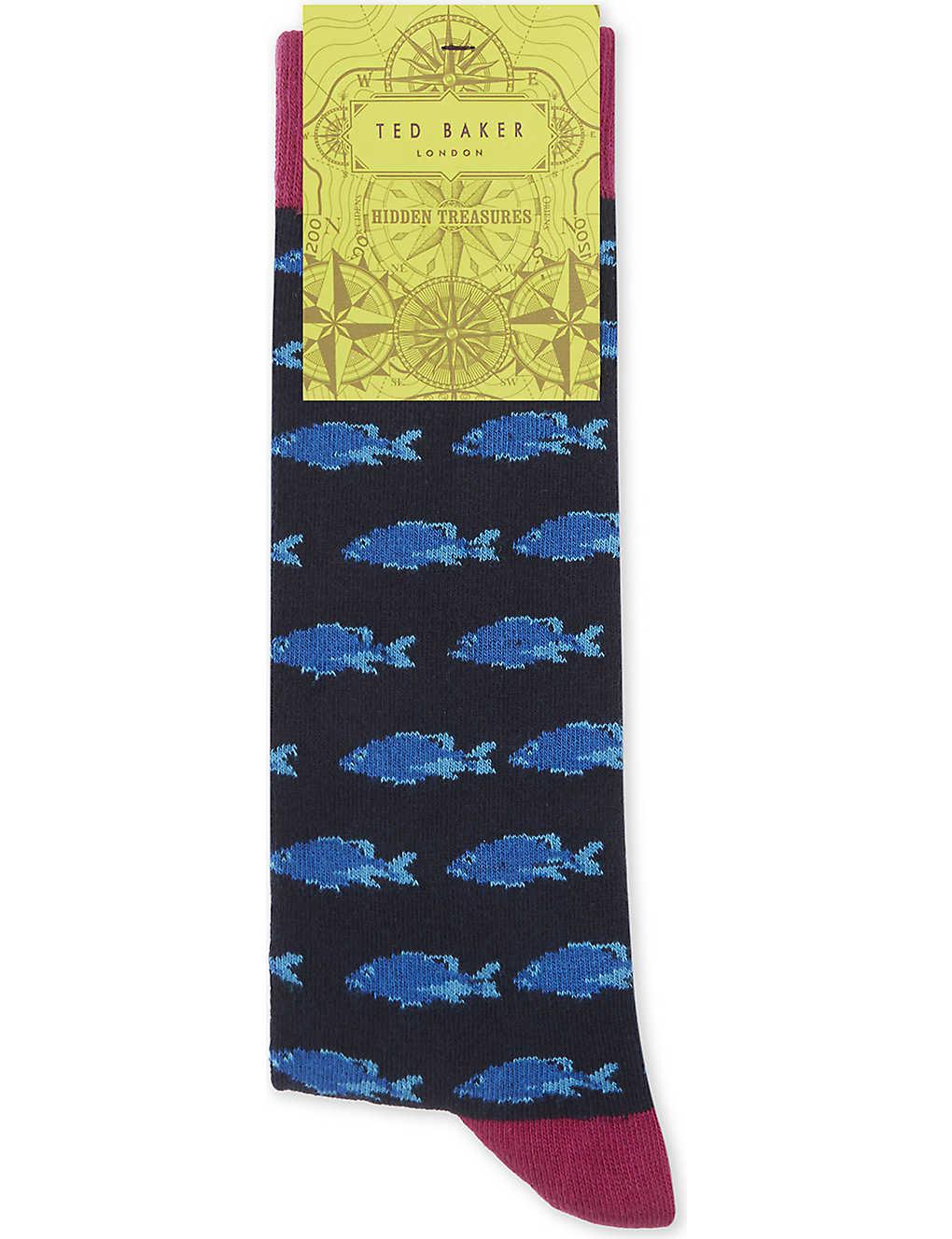 788391bc65e TED BAKER - Blinky fish print cotton-blend socks