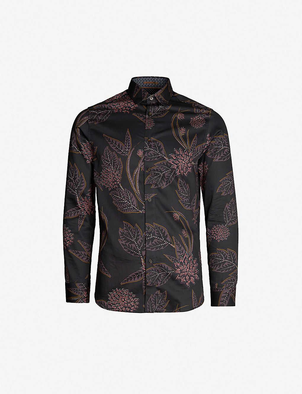 2362e125bb59e TED BAKER - Notting floral-print regular-fit cotton shirt ...