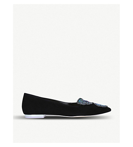 e3824b770b2d ... SOPHIA WEBSTER Bibi Butterfly embellished suede pointed-toe flats (Black.  PreviousNext
