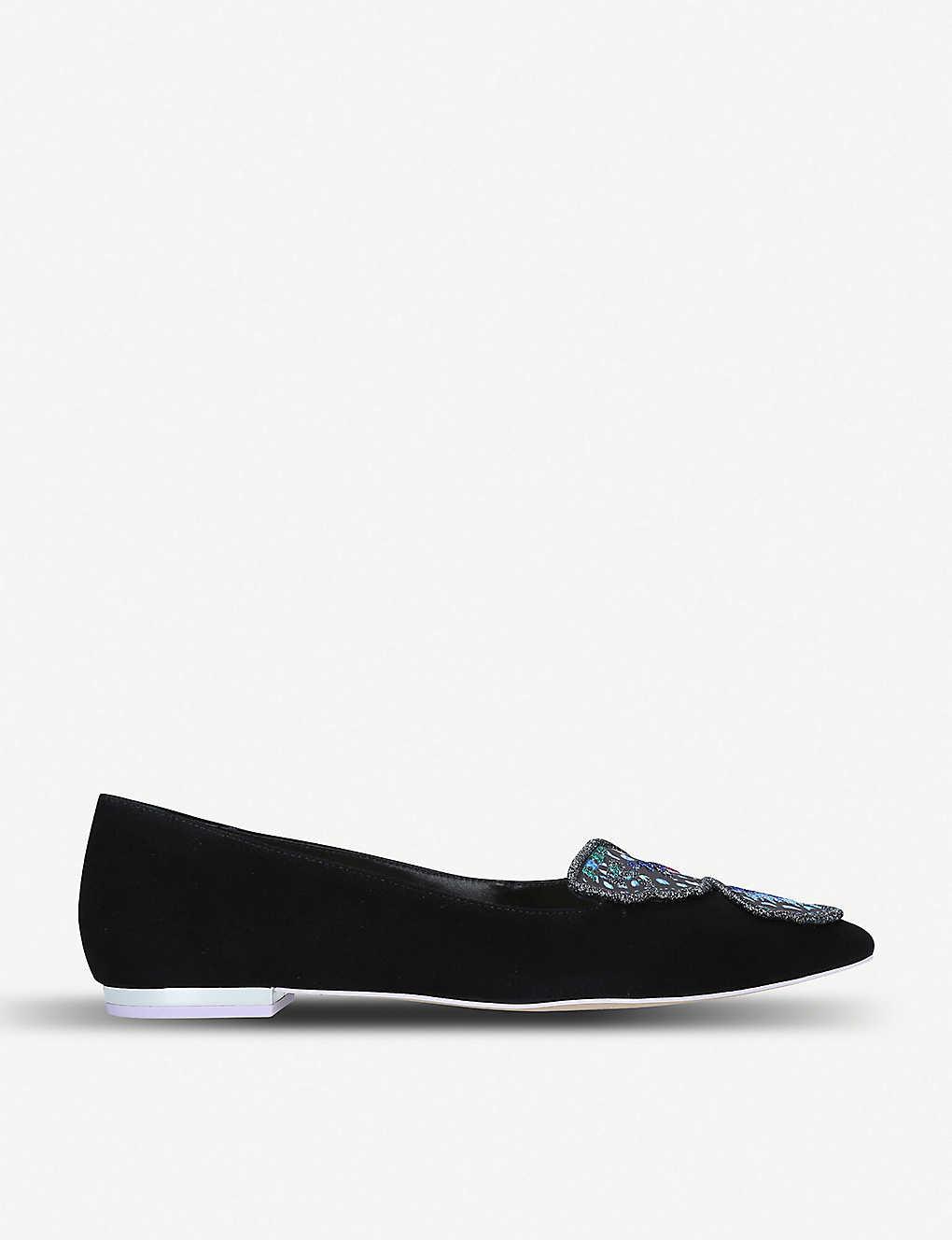 214161b59d99 SOPHIA WEBSTER - Bibi Butterfly embellished suede pointed-toe flats ...